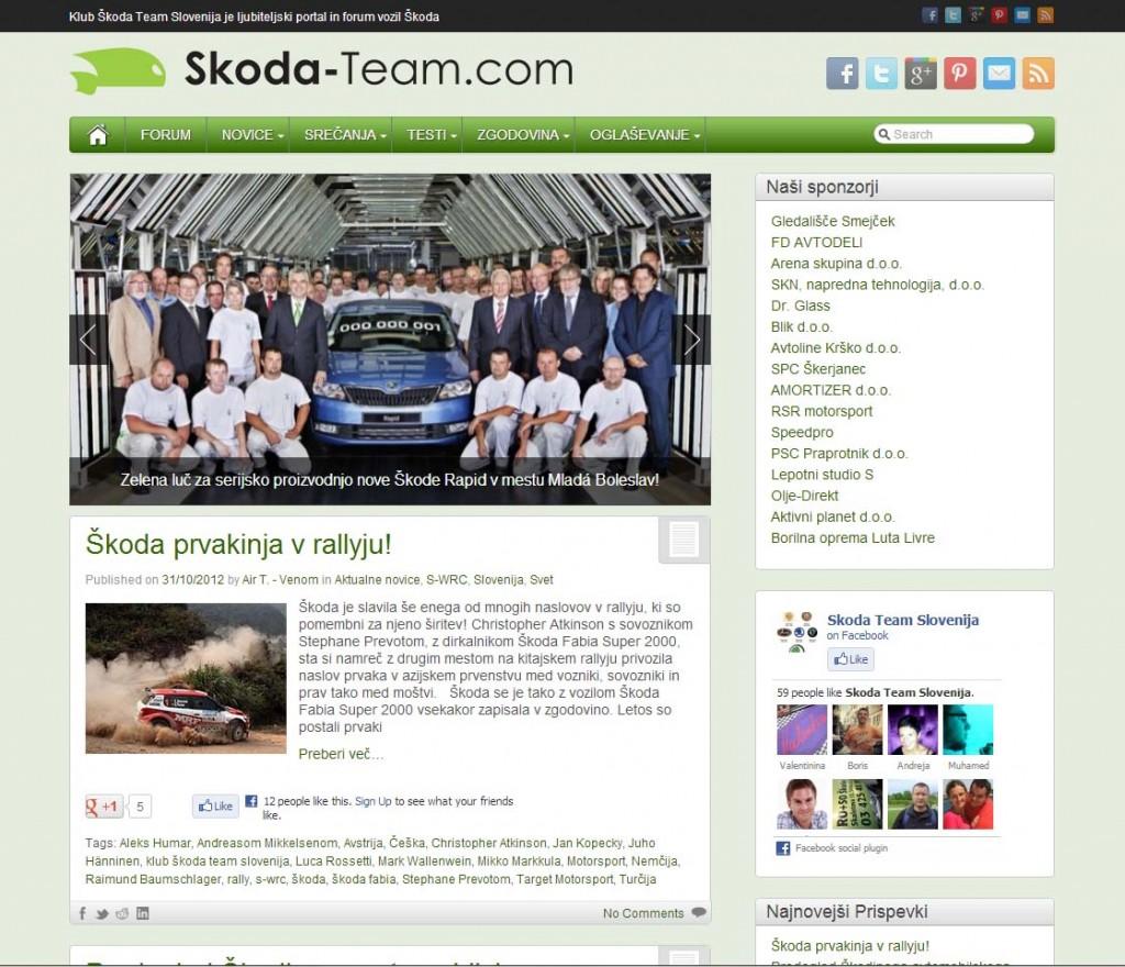 Posodobljen portal kluba Škoda Team Slovenija