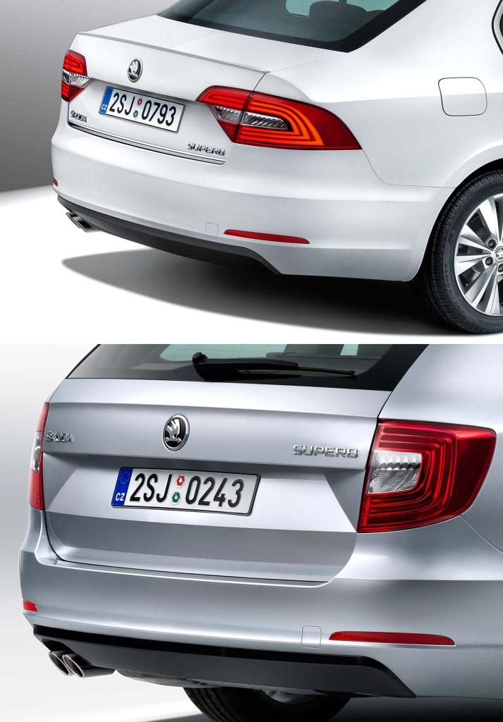 Škoda Superb facelift (2013) - zadnje luči z integriranimi LED lučmi!